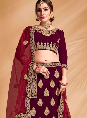 Purple Embroidered Party Designer Kameez Style Lehenga Choli