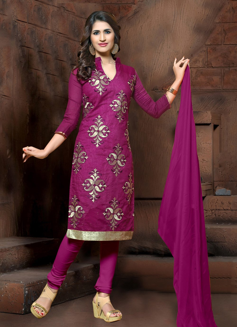 Purple Embroidered Party Salwar Suit