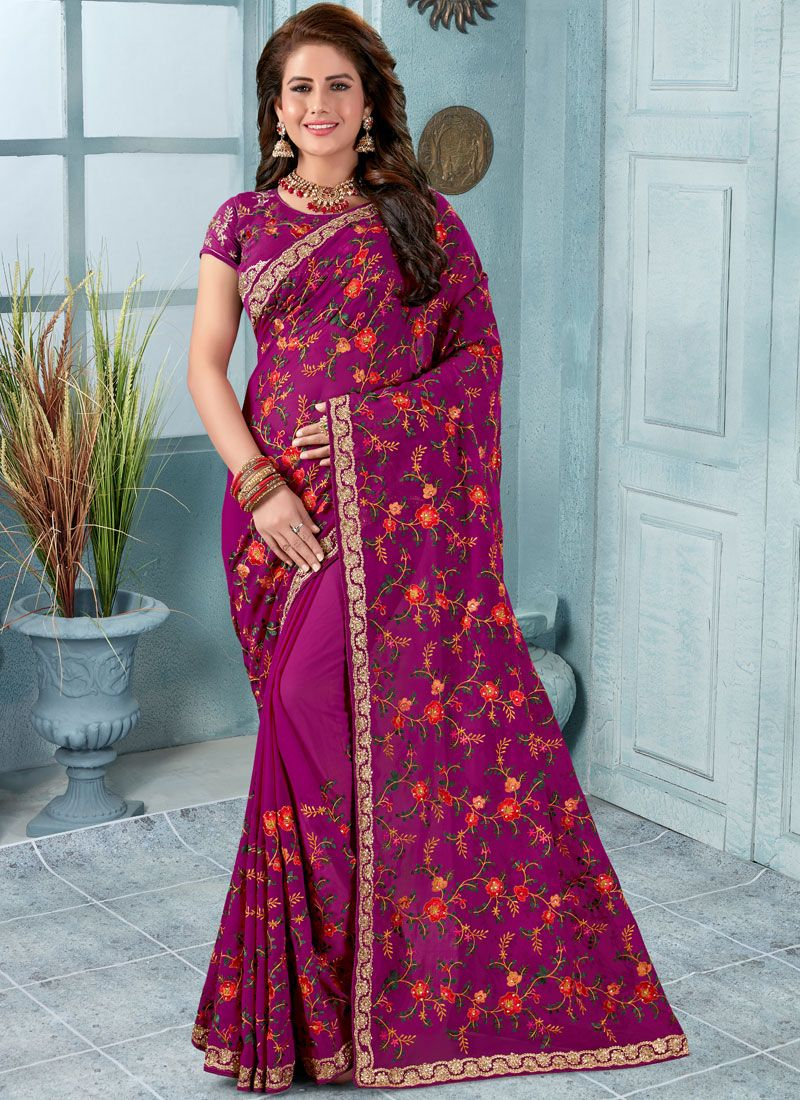 Purple Embroidered Reception Trendy Saree