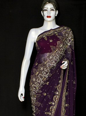 Purple Embroidered Satin Designer Saree