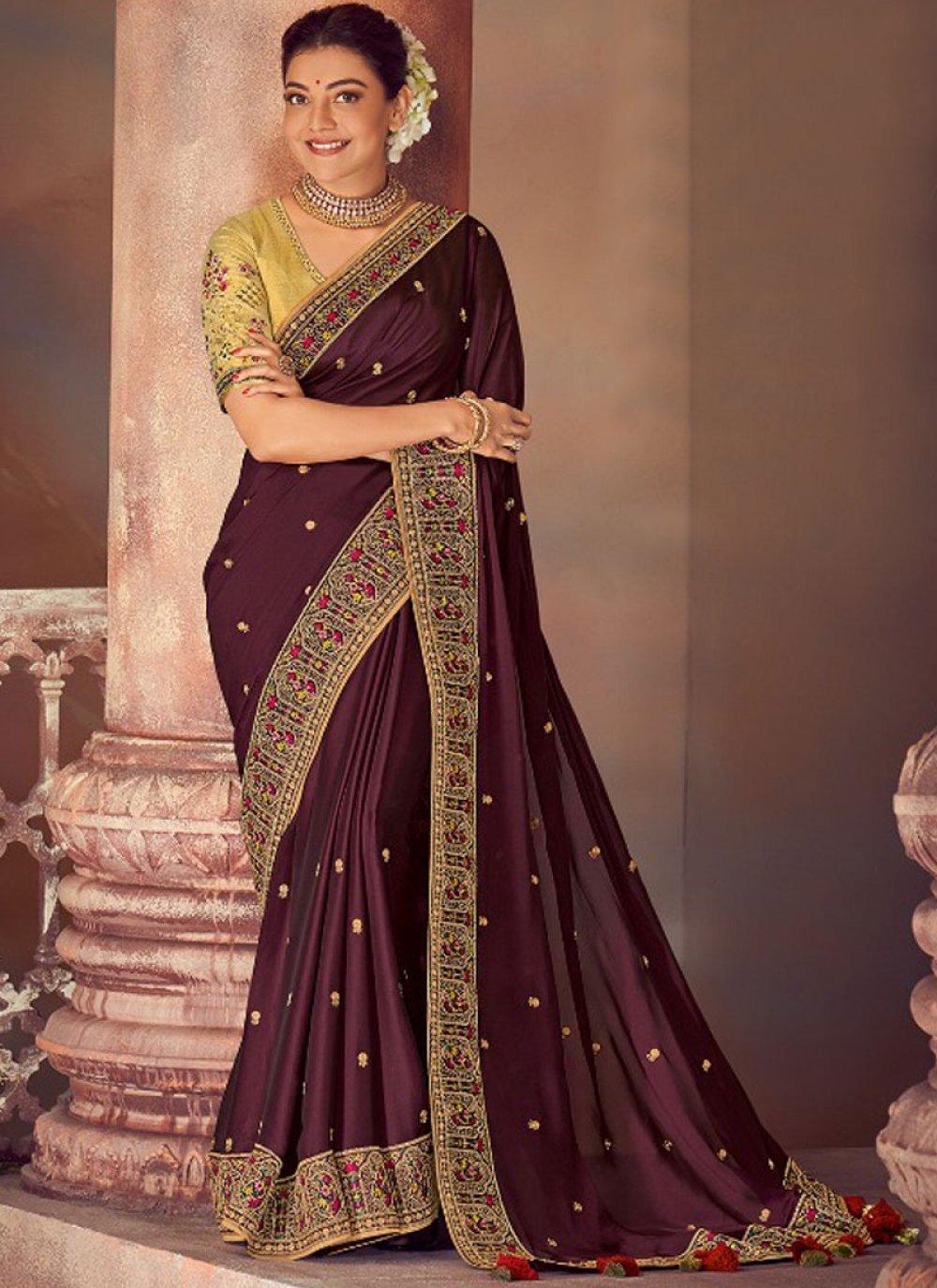 Purple Embroidered Silk Classic Saree