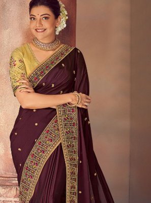 Purple Embroidered Silk Classic Saree