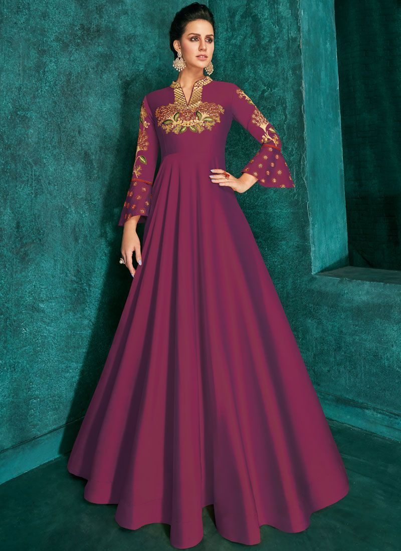 Purple Embroidered Silk Trendy Gown