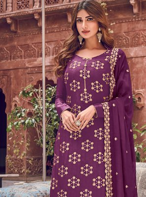 Purple Embroidered Silk Trendy Straight Salwar Kameez
