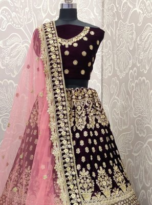 Purple Embroidered Velvet Designer Lehenga Choli