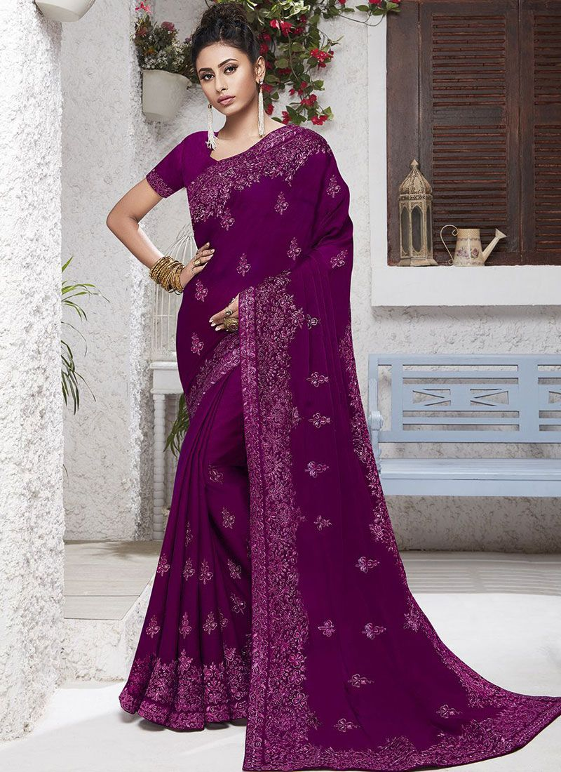 Purple Faux Chiffon Classic Saree