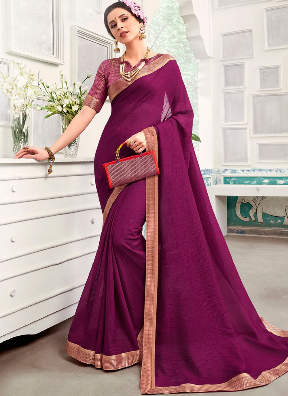 Purple Festival Traditional Saree