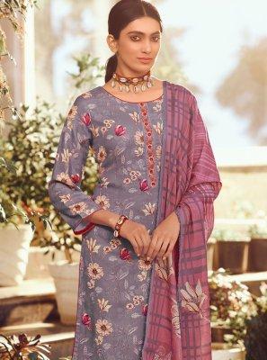 Purple Floral Print Palazzo Salwar Suit