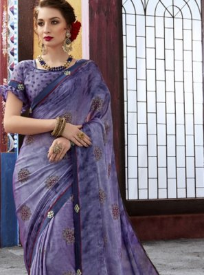 Purple Foil print Faux Chiffon Trendy Saree