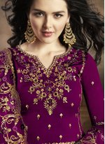 Purple Georgette Embroidered Palazzo Salwar Suit