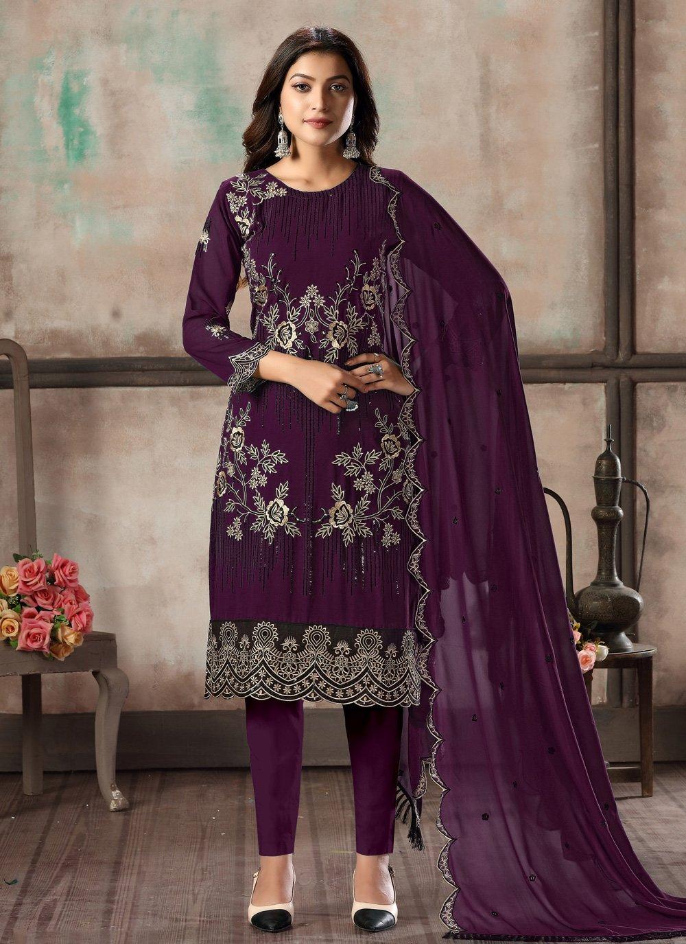 Purple Georgette Embroidered Salwar Suit