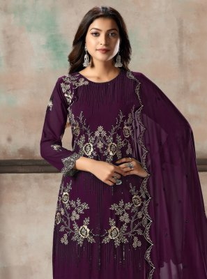 Purple Georgette Embroidered Salwar Suit