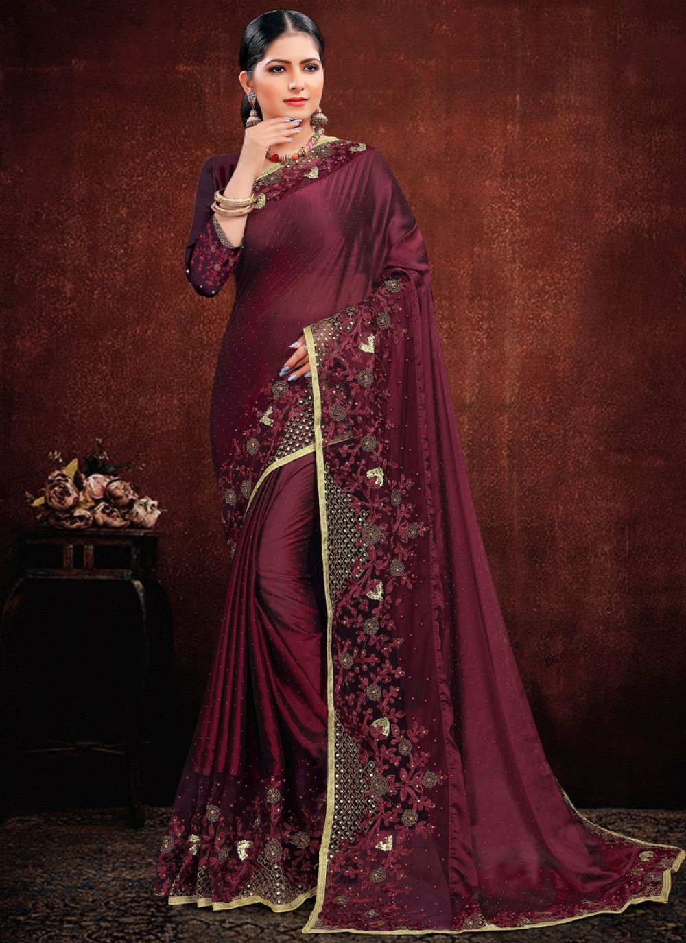 Purple Georgette Satin Classic Saree