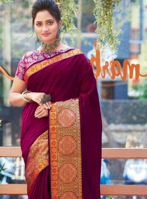Purple Khadi Silk Bollywood Saree