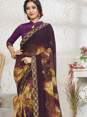 Purple Mehndi Georgette Designer Saree