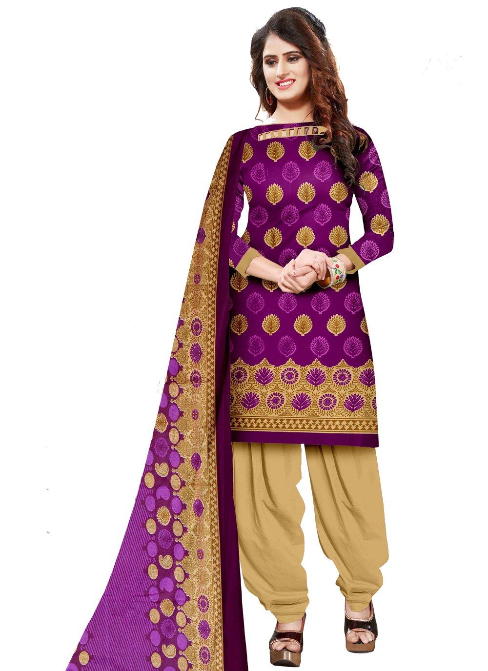 Purple Party Cotton Salwar Kameez