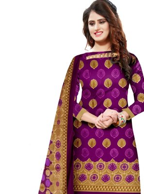 Purple Party Cotton Salwar Kameez