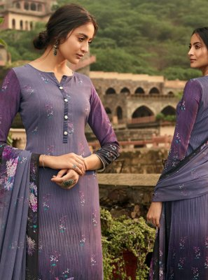 Purple Party Crepe Silk Palazzo Salwar Kameez