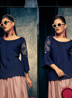 Purple Party Rayon Party Wear Kurti
