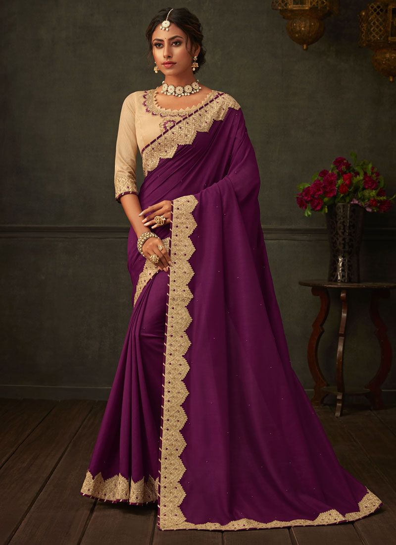 Purple Poly Silk Embroidered Classic Designer Saree