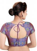Purple Printed Brocade Designer Blouse