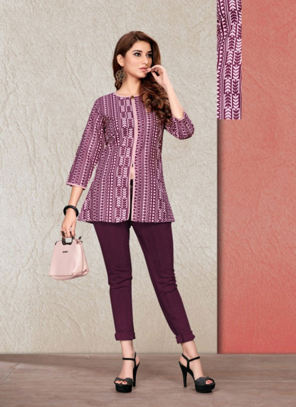 Purple Printed Party Casual Kurti
