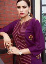 Purple Rayon Party Party Wear Kurti