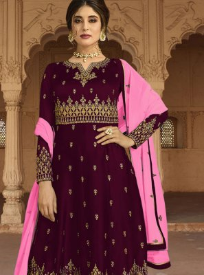 Purple Reception Faux Georgette Designer Palazzo Salwar Kameez