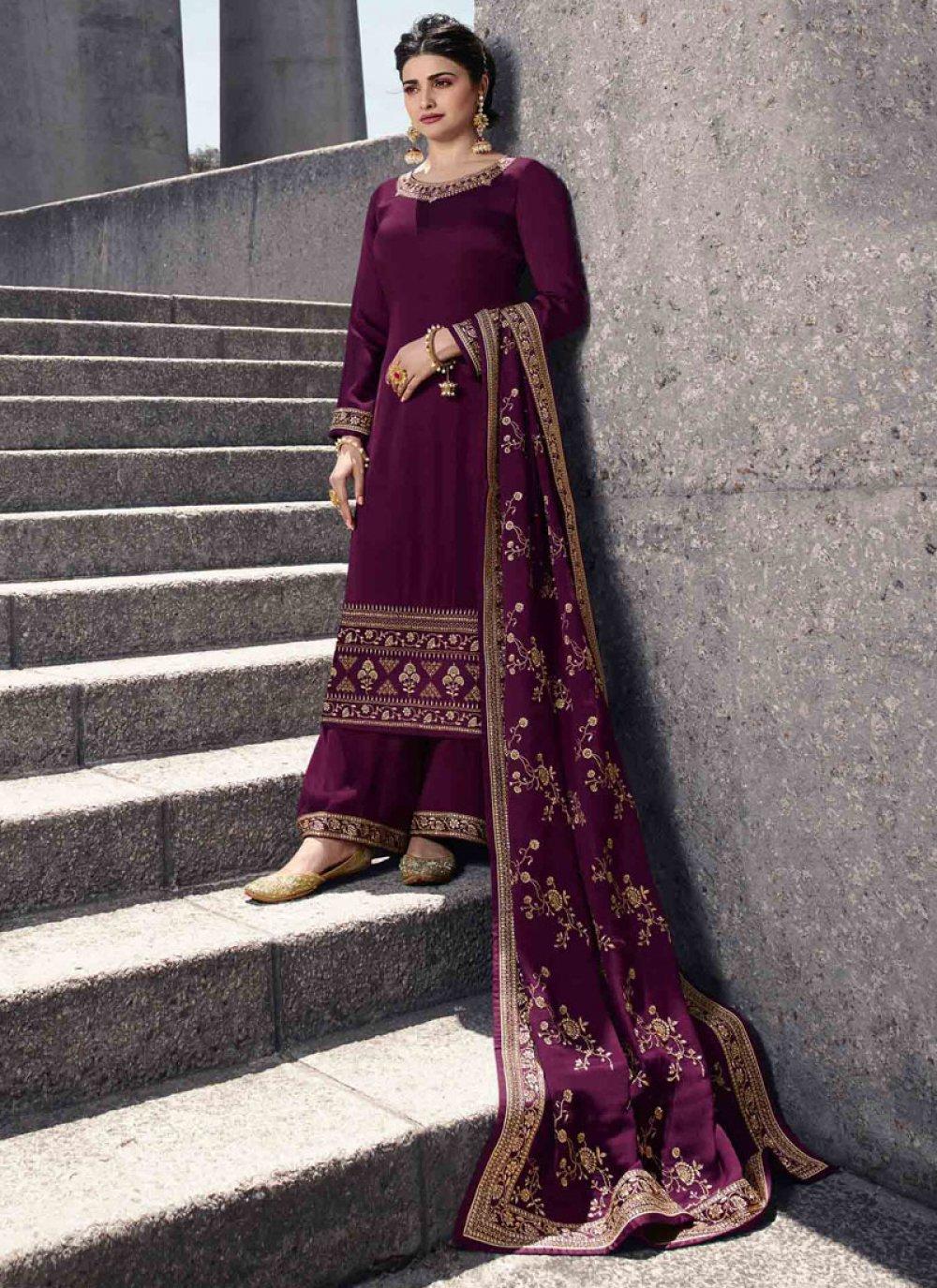 Purple Resham Georgette Satin Salwar Kameez