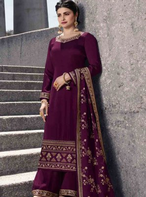Purple Resham Georgette Satin Salwar Kameez