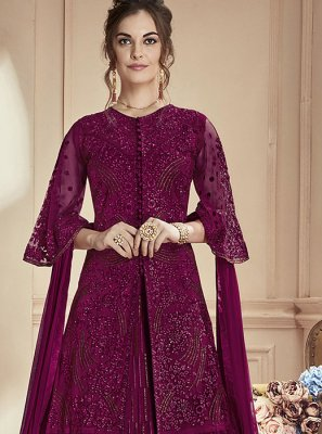 Purple Resham Net Anarkali Salwar Suit