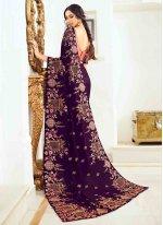 Purple Resham Silk Classic Designer Saree