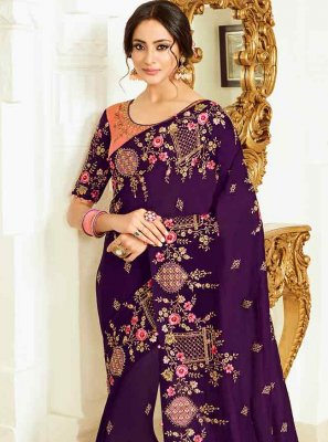 Purple Resham Silk Classic Designer Saree