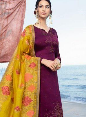 Purple Satin Churidar Salwar Suit