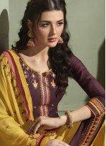 Purple Satin Mehndi Designer Patiala Salwar Kameez