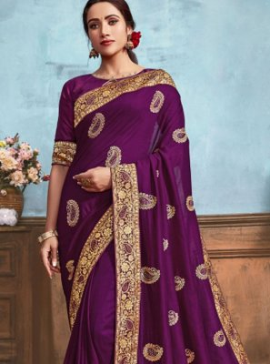 Purple Silk Classic Designer Saree