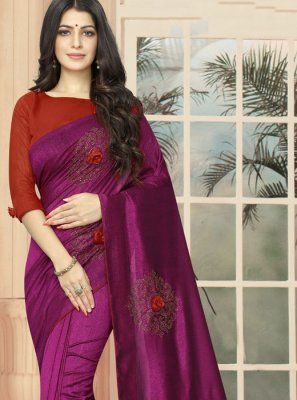 Purple Silk Embroidered Casual Saree