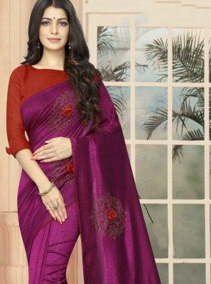 Purple Silk Embroidered Casual Saree