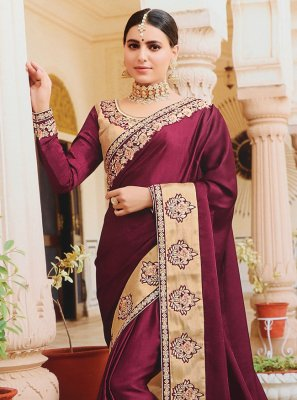 Purple Silk Embroidered Designer Bollywood Saree