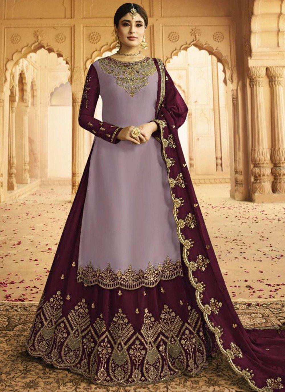 Purple Silk Embroidered Lehenga Choli