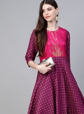 Purple Silk Print Casual Kurti
