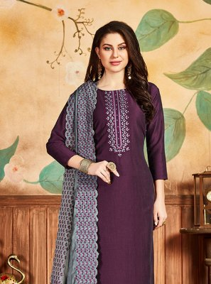 Purple Silk Salwar Kameez