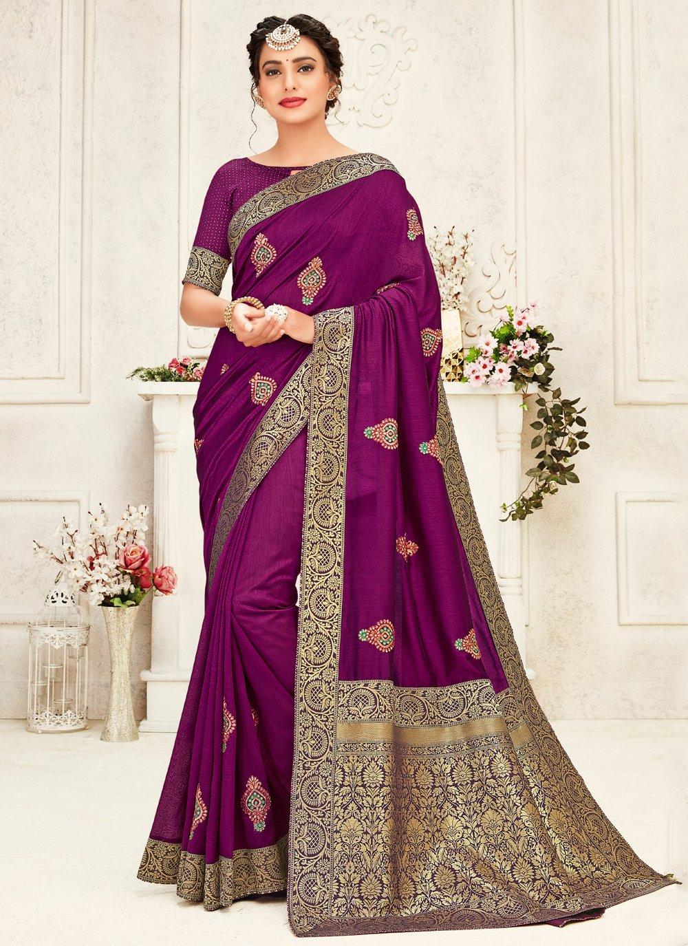 Purple Silk Trendy Saree