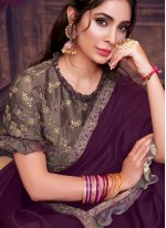 Purple Silk Zari Classic Saree