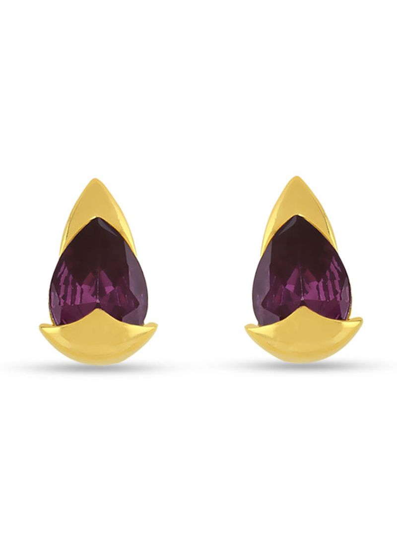 Purple Stone Work Mehndi Ear Rings