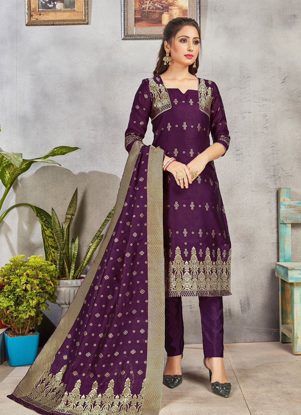 Purple Weaving Festival Pant Style Suit