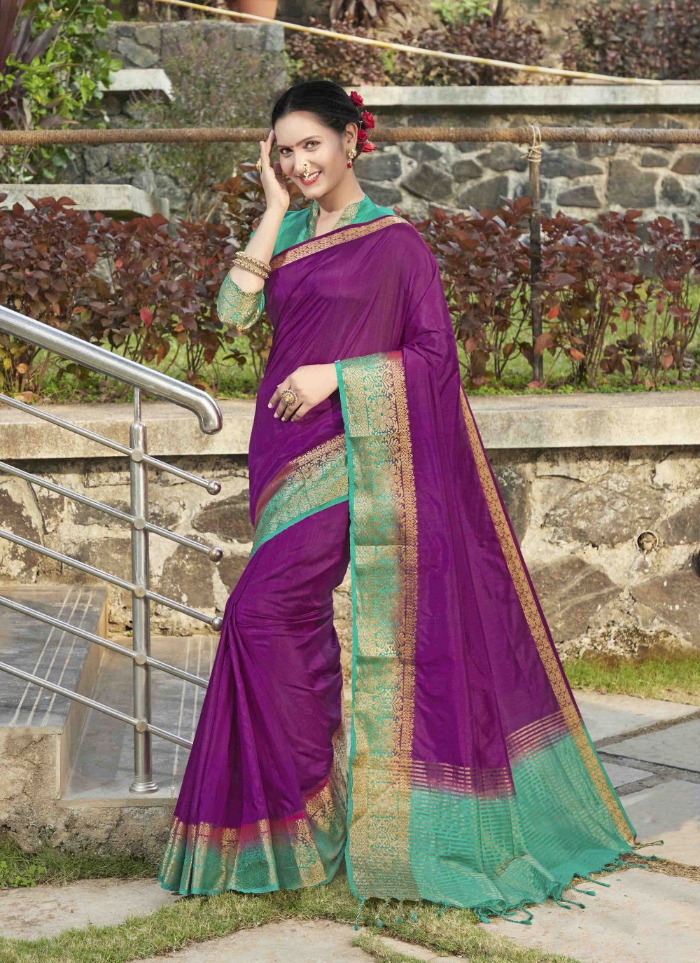 Purple Weaving Festival Silk Saree