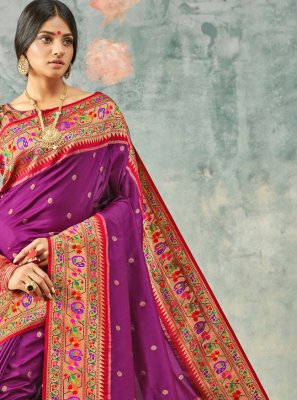 Purple Weaving Festival Traditional Saree
