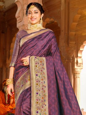 Purple Weaving Party Designer Saree