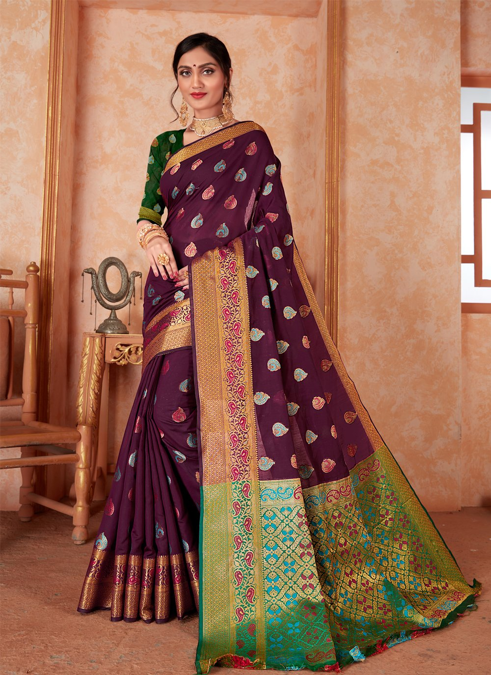 Purple Weaving Silk Classic Designer Saree